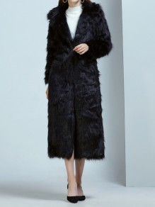 Black Pockets Turndown Collar Long Sleeve Fashion Faux Fur Coat