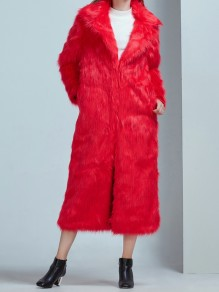 Red Pockets Turndown Collar Long Sleeve Fashion Faux Fur Coat