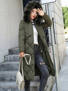 Army Green Patchwork Fur Pockets Drawstring Zipper Side Slit Hooded Long Sleeve Casual Coat