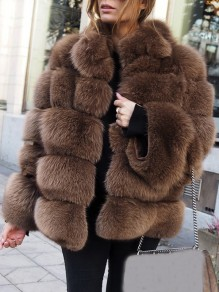 Brown Fur Buttons V-neck Long Sleeve Elegant Coat
