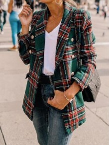 Green-Red Plaid Pockets Double Breasted Turndown Collar Casual Preppy Cardigan Wool Coat