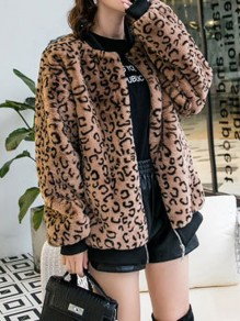 Brown Fur Pockets Zipper Round Neck Long Sleeve Casual Coat
