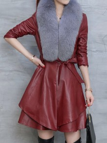 Red Sashes Grey Fur Collar Long Sleeve Going out PU Leather Coat