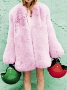 Pink Patchwork Faux Fur Collarless Long Sleeve Fashion Fluffy Coat Outerwear