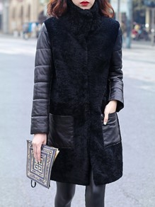Black Patchwork Faux Fur Pockets Buttons Band Collar Fashion Outerwear