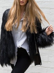 Black Faux Fur Round Neck Long Sleeve Fashion Casual Coat Outerwear