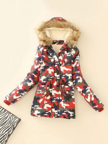 Red Camouflage Print Pockets Drawstring Hooded Long Sleeve Going out Coat