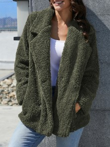 Army Green Fur Pockets Double Breasted Turndown Collar Long Sleeve Casual Coat