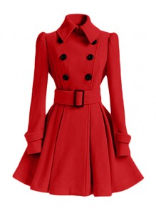 Red Sashes Double Breasted Turndown Collar Long Sleeve Elegant Coat