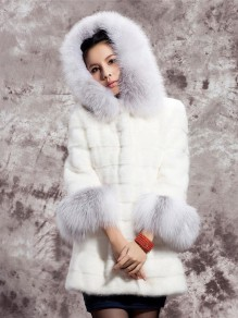 White Patchwork Faux Fur Hooded Fashion Outerwear