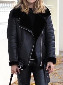 Black Faux Fur Zipper Pockets Belt Turndown Collar Leather Teddy Lining Biker Lambwool Coat