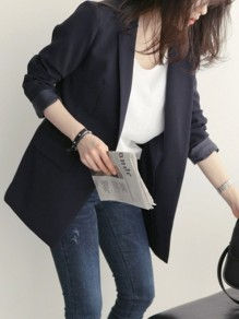 Black Pockets Buttons Single Button Tailored Collar Long Sleeve Elegant Coat