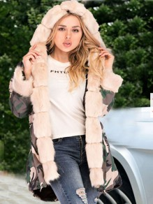 Apricot Camouflage Pockets Hooded Fur Collar Long Sleeve Parka Coat