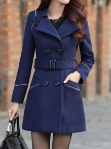 Dark Blue Sashes Pockets Buttons Double Breasted Turndown Collar Long Sleeve Elegant Coat
