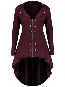 Wine Red Zipper Irregular Swallowtail Double Breasted Turndown Collar Long Sleeve Elegant Coat
