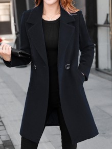 Black Pockets Buttons Double Breasted Tailored Collar Long Sleeve Elegant Coat
