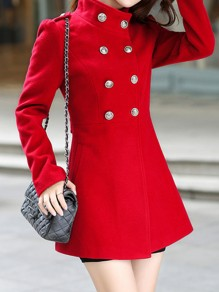 Red Pockets Buttons Studded Double Breasted Band Collar Long Sleeve Elegant Coat