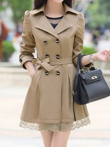 Khaki Patchwork Lace Pockets Buttons Sashes Bow Double Breasted Turndown Collar Long Sleeve Elegant Coat