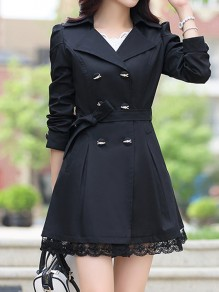 Black Patchwork Lace Pockets Buttons Sashes Bow Double Breasted Turndown Collar Military Peacoat Coat