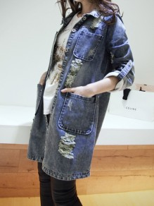 Blue Cut Out Buttons Pockets Long Sleeve long distressed denim jacket