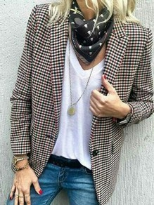 Red Plaid Pockets Buttons Turndown Collar Fashion Outerwear