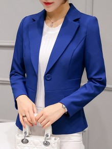 Sapphire Blue Patchwork Pockets Buttons Tailored Collar Fashion Outerwear