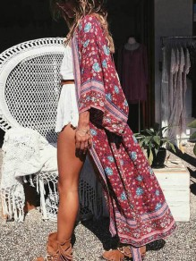Red Floral Draped Sashes V-neck Three Quarter Length Sleeve Bohemian Coat