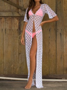 White Polka Dot Grenadine Single Breasted V-neck Elbow Sleeve Bohemian Coat