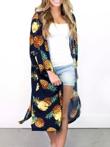 Navy Blue Pineapple Print Bohemian Beach Cover Up Cardigan Coat