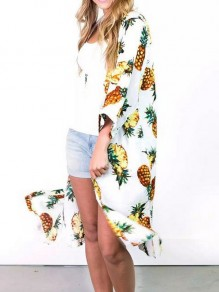 White Pineapple Print Bohemian Beach Cover Up Cardigan Coat
