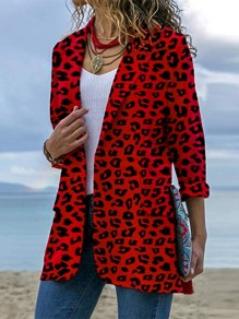 Red Leopard Print Pockets Tailored Collar Long Sleeve Fashion Suit