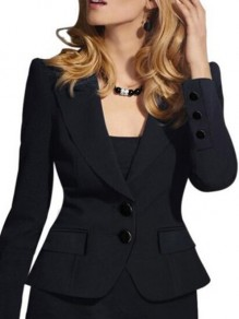 Black Buttons Single Breasted Turndown Collar Deep V Blazer