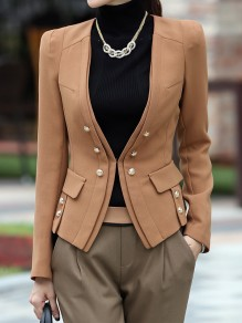 Light Brown Buttons Pockets Single Breasted Lapelless Preppy Fashion Blazer