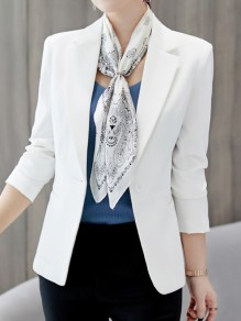 White Pockets Single Button Tailored Collar Long Sleeve Elegant Blazer