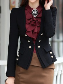 Black Pockets Buttons Studded Double Breasted Tailored Collar Long Sleeve Elegant Blazer