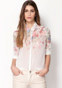 White Floral Print Lapel Long Sleeve Chiffon Blouse