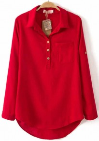 Red Plain Pockets Long Sleeve Cotton Blend Blouse