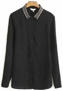 Black Plain Rivet Long Sleeve Wrap Chiffon Blouse