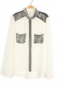 White Patchwork Plain Irregular Turndown Collar Chiffon Blouse