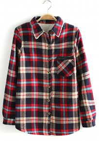 Red Plaid Print Long Sleeve Cotton Blend Blouse