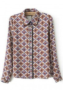 Multicolor Patchwork Geometric Print Blouse