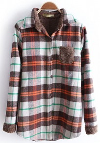 Brown Plaid Pockets Lapel Long Sleeve Cotton Blouse