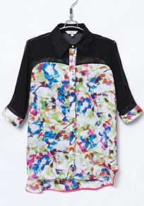 Multicolor Patchwork Print Half Sleeve Chiffon Blouse
