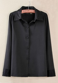 Black Plain Hollow-out Long Sleeve Cotton Blend Blouse