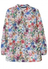 Multicolor Floral Print Buttons Blouse
