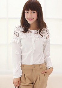 White Patchwork Lace Hollow-out Sweet Blouse