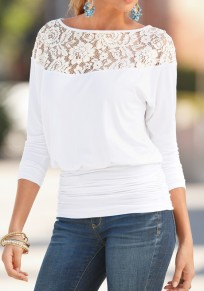 White Patchwork Lace Hollow-out Round Neck Casual Loose Blouse