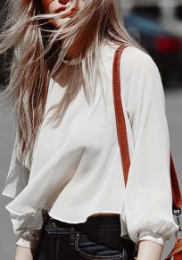 White Patchwork Lace Cut Out Backless Round Neck Sexy Blouse