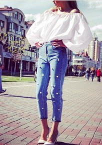 White Plain Boat Neck Long Sleeve Fashion Blouse