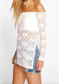 White Floral Lace Hollow-out Off-shoulder See-through Side Slit Blouse